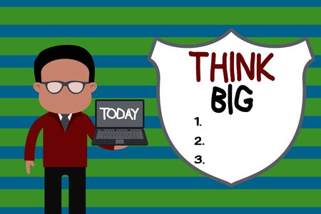 Conceptual hand writing showing Think Big. Concept meaning To plan for something high value for ones self or for preparation Man in suit wearing eyeglasses holding open laptop photo Art Stok Fotoğraf