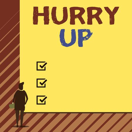 Handwriting text writing Hurry Up. Conceptual photo asking someone to do a job very fast Quickly Lets go Encourage Man stands in back view in front of huge empty blank big rectangle board Stock Photo