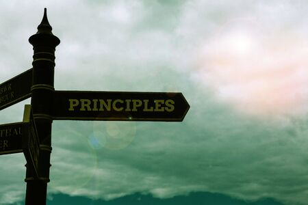Conceptual hand writing showing Principles. Concept meaning fundamental truth that serves as the base for a system of belief Road sign on the crossroads with blue cloudy sky in the background
