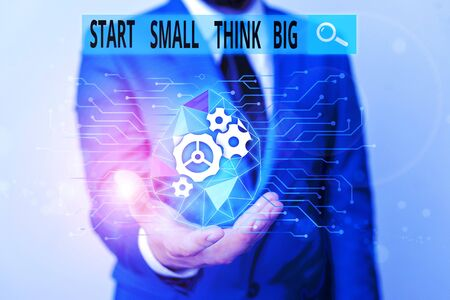 Word writing text Start Small Think Big. Business photo showcasing Initiate with few things have something great in mind Male human wear formal work suit presenting presentation using smart device Imagens
