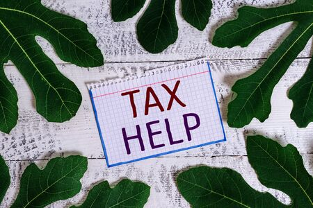 Text sign showing Tax Help. Business photo showcasing Assistance from the compulsory contribution to the state revenue