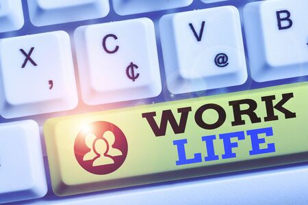 Word writing text Work Life. Business photo showcasing An everyday task to ern money to sustain needs of one s is self White pc keyboard with empty note paper above white background key copy space