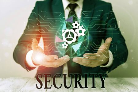 Writing note showing Security. Business concept for The state of feeling safe stable and free from fear or danger Male human wear formal suit presenting using smart device Фото со стока - 134800264
