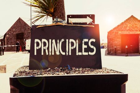 Text sign showing Principles. Business photo showcasing fundamental truth that serves as the base for a system of belief Empty black board with copy space for advertising. Blank dark board