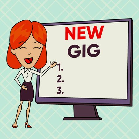 Text sign showing New Gig. Business photo text getting job Attending live Concert Gigabyte Freelancer offer White Female in Standing Pointing Blank Screen Whiteboard Presentation