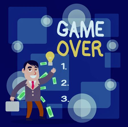 Writing note showing Game Over. Business concept for A situation in a particular sport that reach his finals or ending Successful Businessman Generating Idea or Finding Solution 版權商用圖片