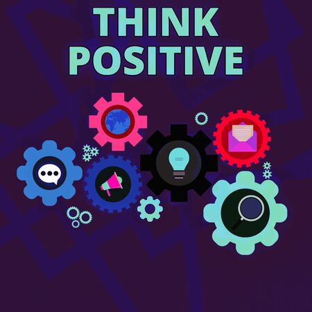 Word writing text Think Positive. Business photo showcasing The tendency to be positive or optimistic in attitude Set of Global Online Social Networking Icons Inside Colorful Cog Wheel Gear Stock Photo