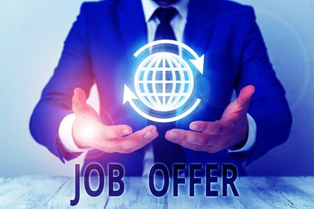 Text sign showing Job Offer. Business photo showcasing A peron or company that gives opurtunity for one s is employment