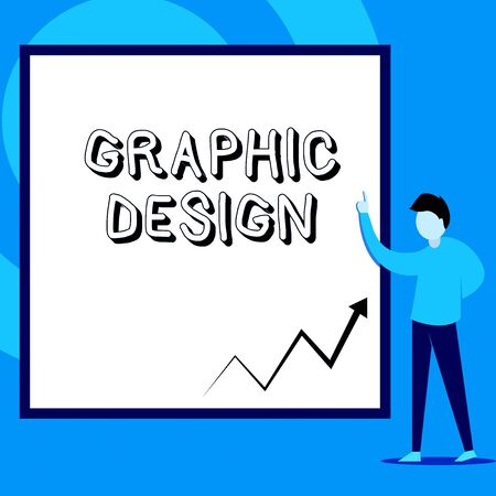 Conceptual hand writing showing Graphic Design. Concept meaning art or skill of combining text and pictures in advertisements Man standing pointing up blank rectangle Geometric background