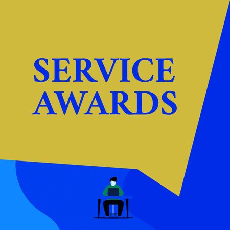 Writing note showing Service Awards. Business concept for Recognizing an employee for his or her longevity or tenure Young man sitting chair desk working open laptop geometric background Foto de archivo - 134800788