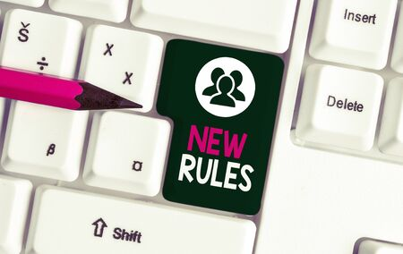 Text sign showing New Rules. Business photo text A state of changing an iplemented policy for better upgrade White pc keyboard with empty note paper above white background key copy space