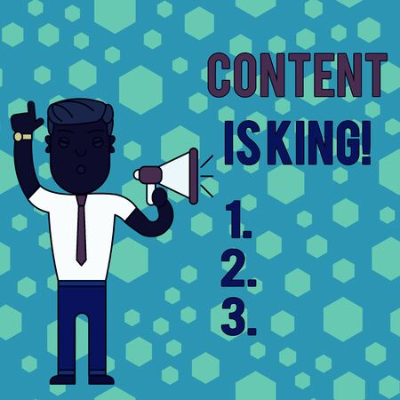 Word writing text Content Is King. Business photo showcasing marketing focused growing visibility non paid search results Man Standing with Raised Right Index Finger and Speaking into Megaphone