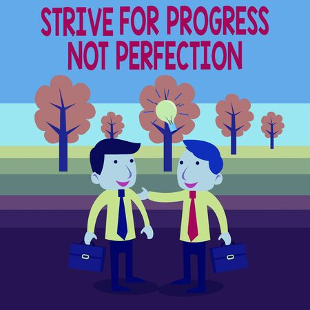 Text sign showing Strive For Progress Not Perfection. Business photo text Improve with flexibility Advance Grow Two White Businessmen Colleagues with Brief Cases Sharing Idea Solution Banco de Imagens