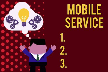 Writing note showing Mobile Service. Business concept for Radio communication utility between mobile and land stations Man hands up imaginary bubble light bulb working together 스톡 콘텐츠