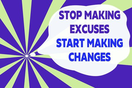 Text sign showing Stop Making Excuses Start Making Changes. Business photo text Do not give an excuse Act instead Abstract geometric deep design. Simulating depth background. Futuristic