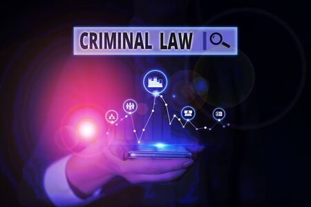 Word writing text Criminal Law. Business photo showcasing legal system which relates to punishing those commits crime Woman wear formal work suit presenting presentation using smart device Stock fotó