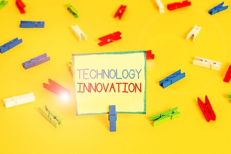 Text sign showing Technology Innovation. Business photo text significant technological changes of products Colored clothespin papers empty reminder yellow floor background office Stockfoto
