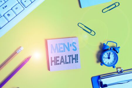 Text sign showing Men S Health. Business photo showcasing state of complete physical mental and social well being by analysis Flat lay above copy space on the white crumpled paper 版權商用圖片
