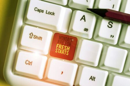 Text sign showing Mondays Are For Fresh Starts. Business photo text Begin again every week have a good morning White pc keyboard with empty note paper above white background key copy space