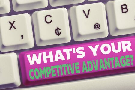 Word writing text What S Your Competitive Advantage Question. Business photo showcasing Marketing strategy Plan White pc keyboard with empty note paper above white background key copy space Archivio Fotografico