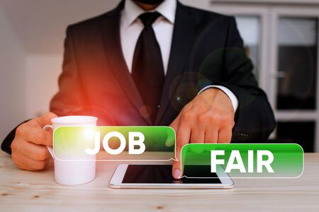 Word writing text Job Fair. Business photo showcasing An event where a demonstrating can apply for a job in multiple companies
