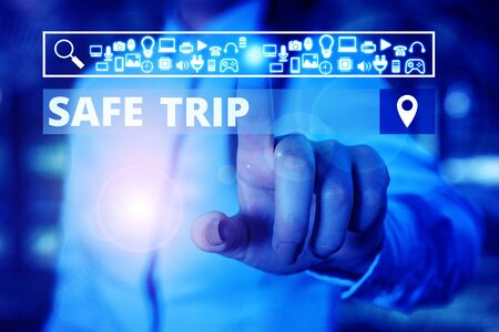 Word writing text Safe Trip. Business photo showcasing wishing someone to reach his destination in good health Woman wear formal work suit presenting presentation using smart device