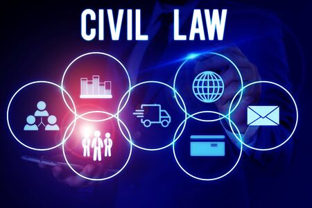 Word writing text Civil Law. Business photo showcasing Law concerned with private relations between members of community Male human wear formal work suit presenting presentation using smart device