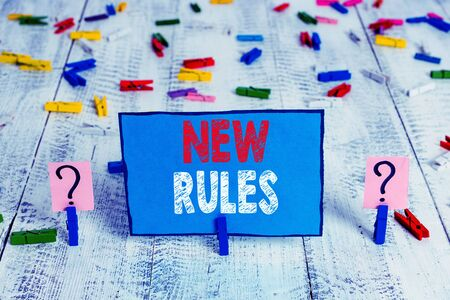 Word writing text New Rules. Business photo showcasing A state of changing an iplemented policy for better upgrade Scribbled and crumbling sheet with paper clips placed on the wooden table