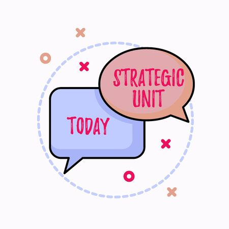 Conceptual hand writing showing Strategic Unit. Concept meaning profit center focused on product offering and market segment. Pair of Overlapping Bubbles of Oval and Rectangular Shape