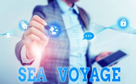 Writing note showing Sea Voyage. Business concept for riding on boat through oceans usually for coast countries Female human wear formal work suit presenting smart device