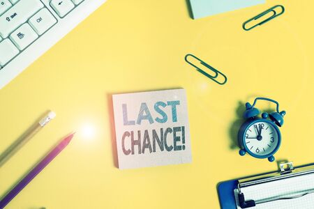Text sign showing Last Chance. Business photo showcasing final opportunity to achieve or acquire something you want Flat lay above copy space on the white crumpled paper Stock Photo - 134802100