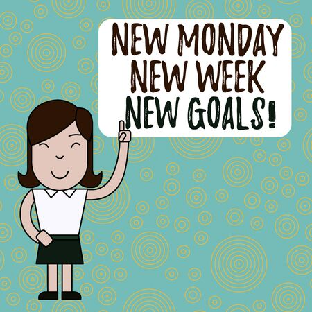 Text sign showing New Monday New Week New Goals. Business photo text goodbye weekend starting fresh goals targets Woman Standing with Raised Left Index Finger Pointing at Blank Text Box