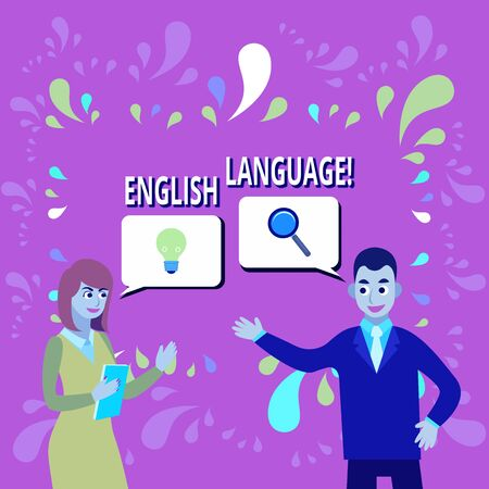 Writing note showing English Language. Business concept for third spoken native lang in world after Chinese and Spanish Business Partners Colleague Jointly Seeking Problem Solution 스톡 콘텐츠