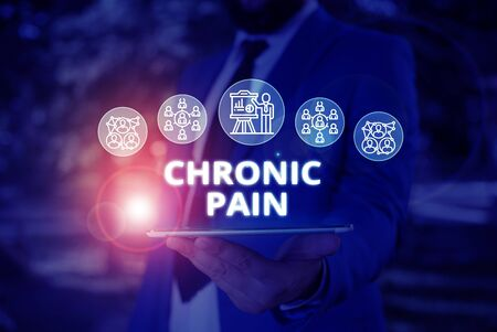 Word writing text Chronic Pain. Business photo showcasing pain that is ongoing and usually lasts longer than six months Male human wear formal work suit presenting presentation using smart device Zdjęcie Seryjne