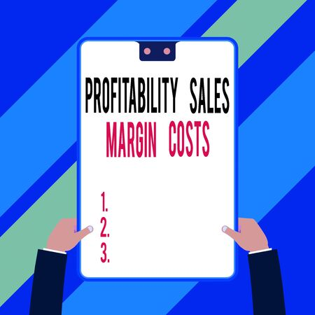 Word writing text Profitability Sales Margin Costs. Business photo showcasing Business incomes revenues Budget earnings Two executive male hands holding electronic device geometrical background