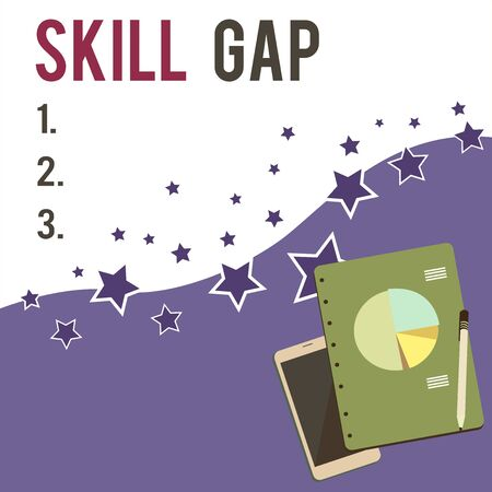 Text sign showing Skill Gap. Business photo showcasing Refering to a demonstrating s is weakness or limitation of knowlege Layout Smartphone Off Ballpoint Pen RingBound Notepad Business Pie Chart