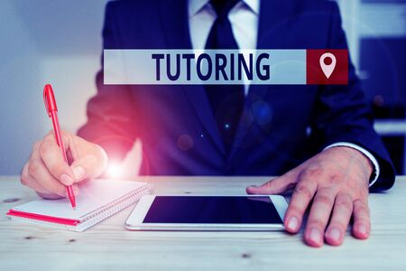 Writing note showing Tutoring. Business concept for An act of a demonstrating employed to administer knowledge to someone