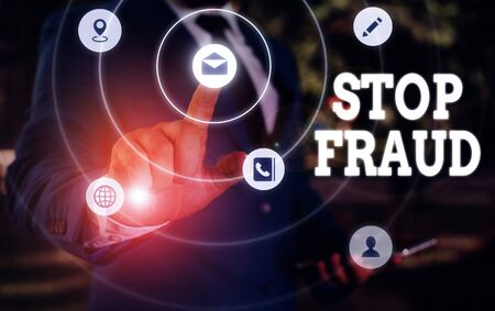 Writing note showing Stop Fraud. Business concept for campaign advices showing to watch out thier money transactions