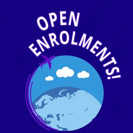 Word writing text Open Enrolments. Business photo showcasing when employees may make changes to elected fringe benefit Airplane with Moving Icon Flying Around Colorful Globe and Blank Text Space