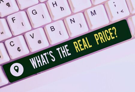 Text sign showing What S The Real Price Question. Business photo text Give actual value of property or business White pc keyboard with empty note paper above white background key copy space