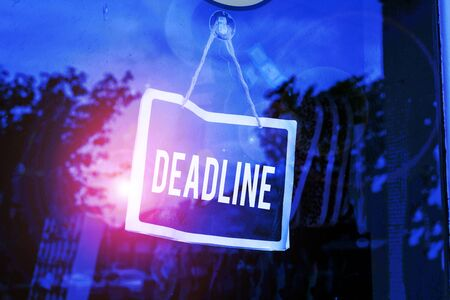 Text sign showing Deadline. Business photo text Period of time by which something must be finished or accomplished Empty black board with copy space for advertising. Blank dark board Фото со стока