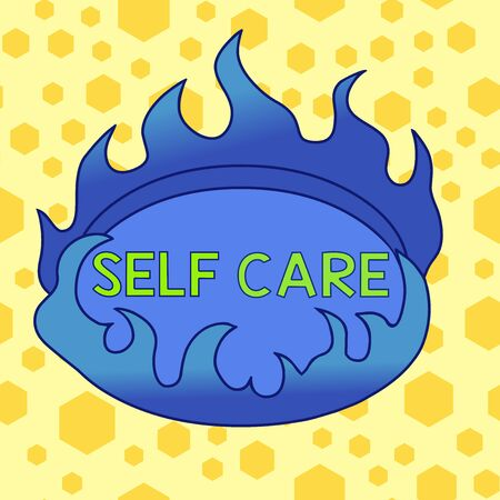Text sign showing Self Care. Business photo showcasing practice of taking action preserve or improve ones own health Asymmetrical uneven shaped format pattern object outline multicolour design
