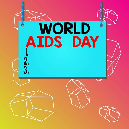 Word writing text World Aids Day. Business photo showcasing 1st December dedicated to raising awareness of the AIDS Wooden board wood rectangle shape empty frame fixed colorful striped string Archivio Fotografico
