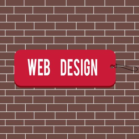 Text sign showing Web Design. Business photo text Website development Designing and process of creating websites Label tag badge rectangle shaped empty space string colorful background Stock Photo - 135401279