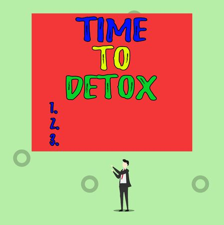 Word writing text Time To Detox. Business photo showcasing Moment for Diet Nutrition health Addiction treatment cleanse Isolated view young man standing pointing upwards two hands big rectangle