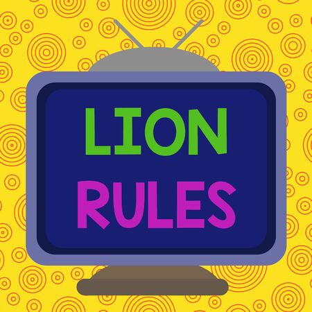 Text sign showing Lion Rules. Business photo text epitome of strength power and masculinity Master of own domain Square rectangle old multicoloured painting television picture wood design Imagens