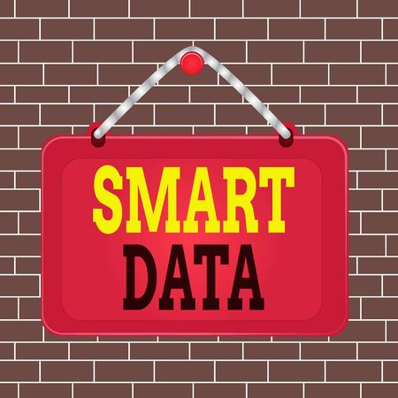 Text sign showing Smart Data. Business photo showcasing digital information that is formatted for further consolidation Board fixed nail frame string striped colored background rectangle panel