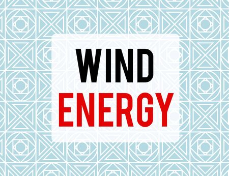 Writing note showing Wind Energy. Business concept for the process by which wind is used to generate electricity Endless Geometric Outline Tiles Pattern in Line against Blue Background