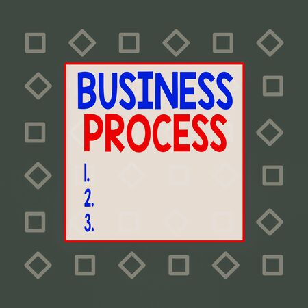 Writing note showing Business Process. Business concept for implemented to accomplish a target organizational goal Square rectangle paper sheet loaded with full creation of pattern theme Archivio Fotografico