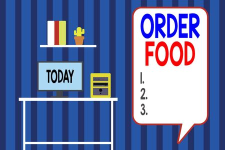 Handwriting text writing Order Food. Conceptual photo the process of requesting a preferred food in a restaurant Desktop computer wooden table background shelf books flower pot ornaments